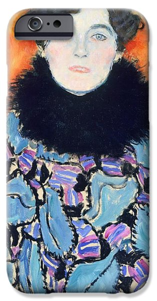 Hairstyle iPhone Cases - Portrait of Johanna Staude iPhone Case by Gustav Klimt