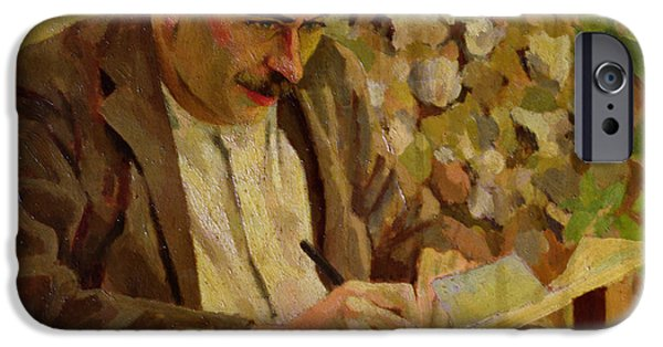 Cambridge Paintings iPhone Cases - Portrait Of John Maynard Keynes iPhone Case by Roger Eliot Fry