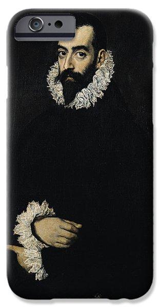 Aristocrat iPhone Cases - Portrait Of Juan Alfonso De Pimentel Y Herrera, 8th Conde De Benavente D.1621 iPhone Case by El Greco