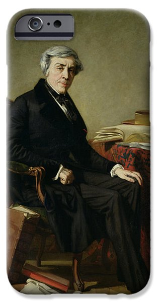 Writer iPhone Cases - Portrait Of Jules Michelet 1798-1874 Oil On Canvas iPhone Case by Thomas Couture