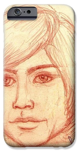Michael Pastels iPhone Cases - Portrait of Justin Hayward 4 iPhone Case by Joan-Violet Stretch