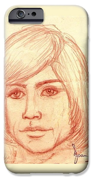Michael Angelo iPhone Cases - Portrait of Justin Hayward 4 iPhone Case by Joan-Violet Stretch