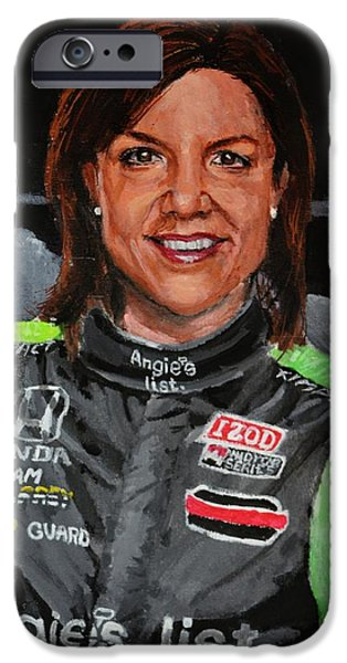Indy Car iPhone Cases - Portrait of Katherine iPhone Case by P D Morris