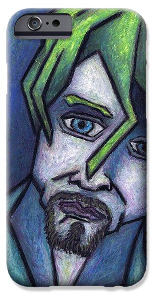 Expressionism Pastels iPhone Cases - Portrait of Kurt iPhone Case by Kamil Swiatek