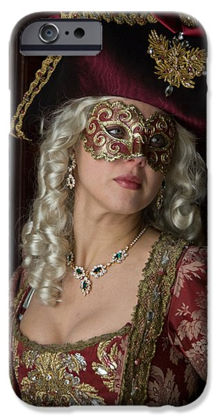 Duchess iPhone Cases - Portrait of lady in mask iPhone Case by Zina Zinchik
