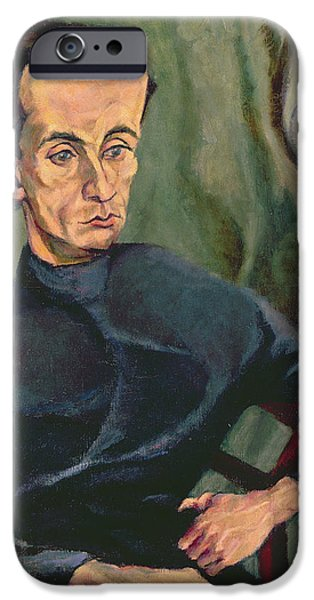 Painter Photographs iPhone Cases - Portrait Of Lasjos Kassak 1887-1967 Oil On Canvas iPhone Case by Tihonyi Lajos