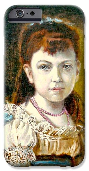 Little Girl iPhone Cases - Portrait of little Girl iPhone Case by Henryk Gorecki