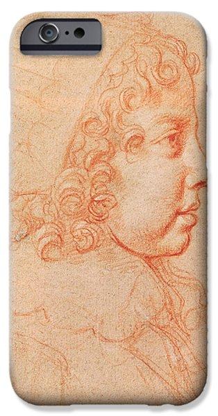 Enfants iPhone Cases - Portrait Of Louis Xiv As A Child Red Chalk On Paper iPhone Case by Philippe de Champaigne