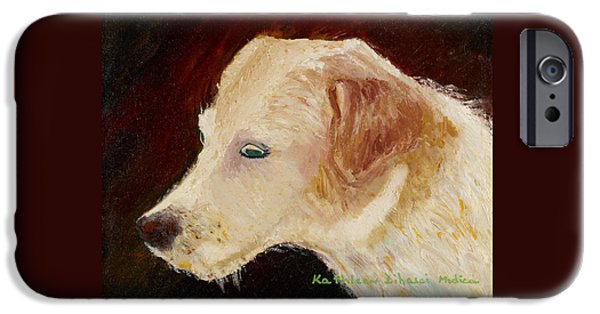 Dogs iPhone Cases - Portrait of Luke iPhone Case by KLM Kathel