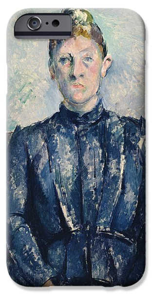 Madame iPhone Cases - Portrait of Madame Cezanne iPhone Case by Paul Cezanne