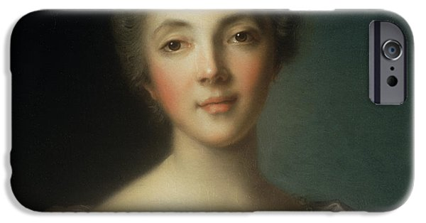 Madame iPhone Cases - Portrait Of Madame Dupin iPhone Case by Jean-Marc Nattier
