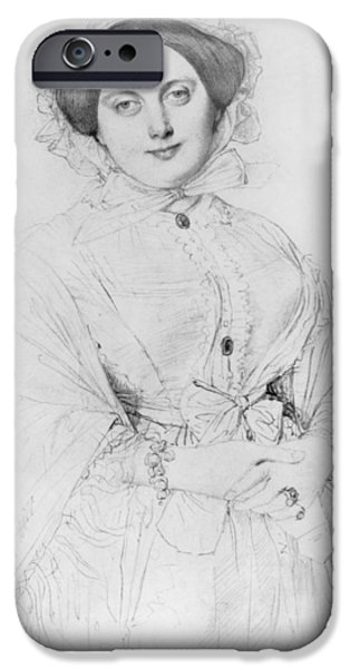 Three-quarter Length iPhone Cases - Portrait of Madame Ingres iPhone Case by Jean Auguste Ingres