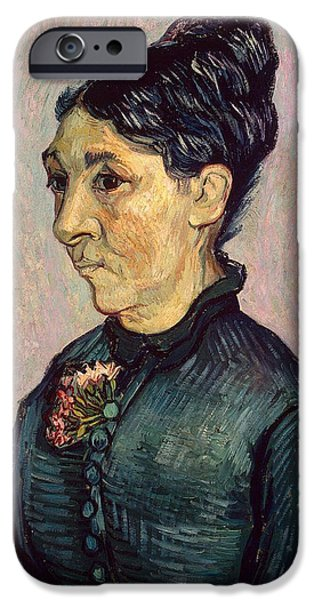 Sombre iPhone Cases - Portrait of Madame Jeanne Lafuye Trabuc iPhone Case by Vincent Van Gogh