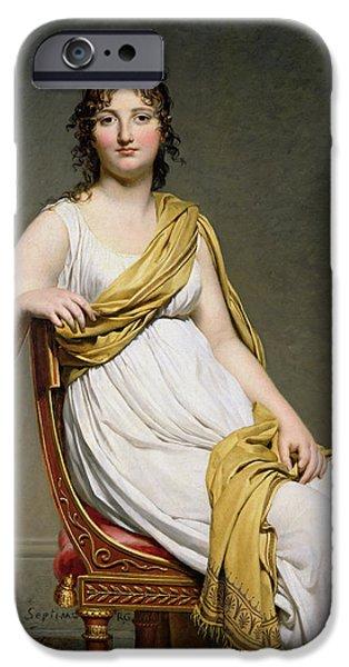 Delacroix iPhone Cases - Portrait Of Madame Raymond De Verninac 1780-1827 1798-99 Oil On Canvas iPhone Case by Jacques Louis David