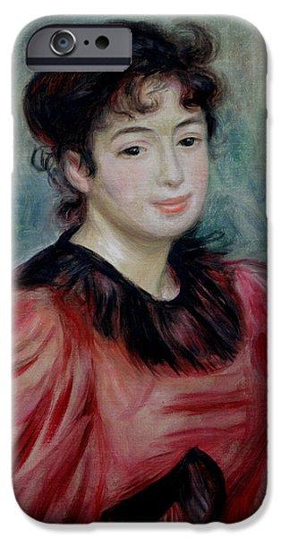 Model iPhone Cases - Portrait Of Mademoiselle Victorine De Bellio 1863-1957 1892 Oil On Canvas iPhone Case by Pierre Auguste Renoir