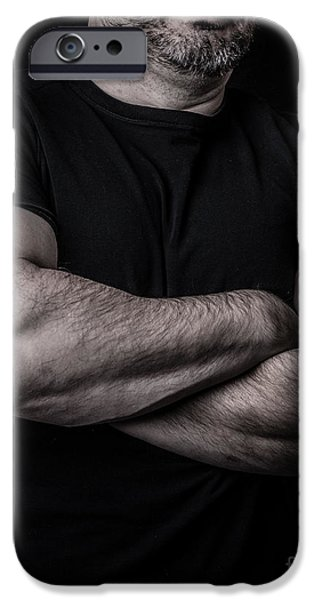 Born Adult iPhone Cases - Portrait of Man iPhone Case by Edward Fielding