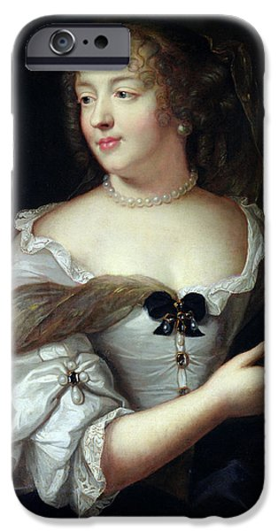 Pearls iPhone Cases - Portrait Of Marie De Rabutin-chantal, Madame De Sevigne 1626-96 Oil On Canvas iPhone Case by Claude Lefebvre