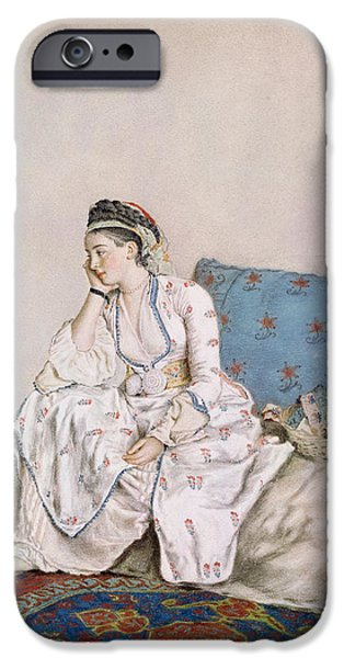 Countess iPhone Cases - Portrait of Mary Gunning iPhone Case by Jean-Etienne Liotard