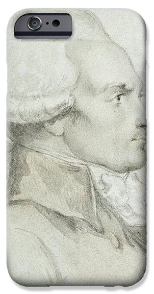 Colour Drawings iPhone Cases - Portrait of Maximilien de Robespierre iPhone Case by Jean Michel the Younger Moreau