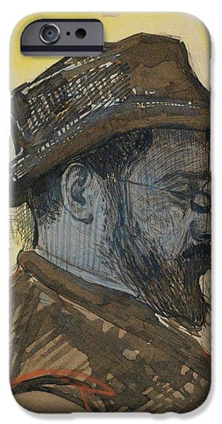 Mustaches iPhone Cases - Portrait of Maximilien Luce iPhone Case by Paul Signac