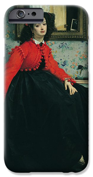 Victorian iPhone Cases - Portrait Of Mlle. L.l. Young Lady In A Red Jacket 1864 Oil On Canvas iPhone Case by James Jacques Joseph Tissot