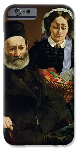Sombre iPhone Cases - Portrait Of Monsieur And Madame Auguste Manet, 1860 Oil On Canvas iPhone Case by Edouard Manet