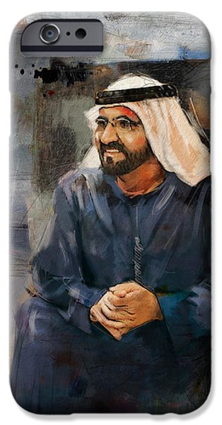 Chairmen iPhone Cases - Portrait of Muhammad bin Rashid al Maktoum 2 iPhone Case by Maryam Mughal