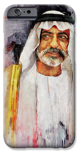 Chairmen iPhone Cases - Portrait of Nahyan bin Mubarak Al Nahyan iPhone Case by Maryam Mughal