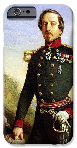 Three-quarter Length iPhone Cases - Portrait Of Napoleon Iii 1808-73 1852 Oil On Canvas Detail iPhone Case by Felix Francois Barthelemy Genaille