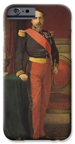 President iPhone Cases - Portrait Of Napoleon Iii 1808-73 1862 Oil On Canvas iPhone Case by Hippolyte Flandrin