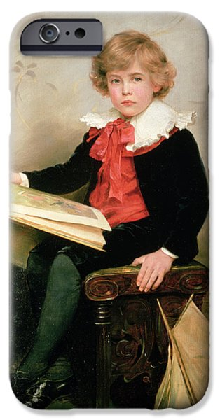 Child iPhone Cases - Portrait Of Norman Stewart Davies iPhone Case by George Hillyard Swinstead