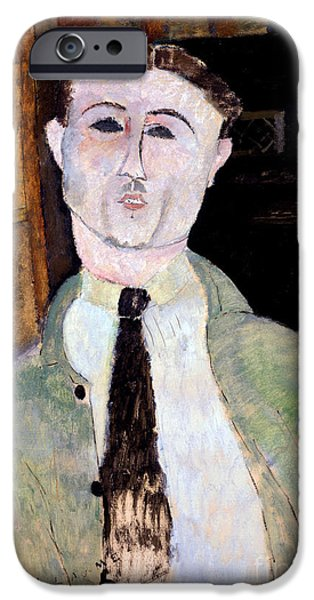 July Paintings iPhone Cases - Portrait of Paul Guillaume iPhone Case by Amedeo Modigliani