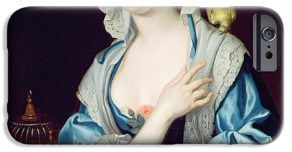 Cage Paintings iPhone Cases - Portrait of Peg Woffington iPhone Case by Jean-Baptiste van Loo