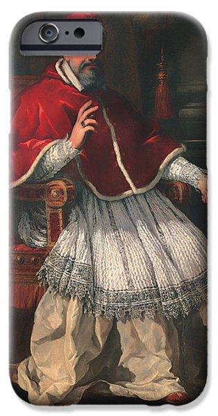 Pope iPhone Cases - Portrait of Pope Urban VIII iPhone Case by Pietro da Cortona