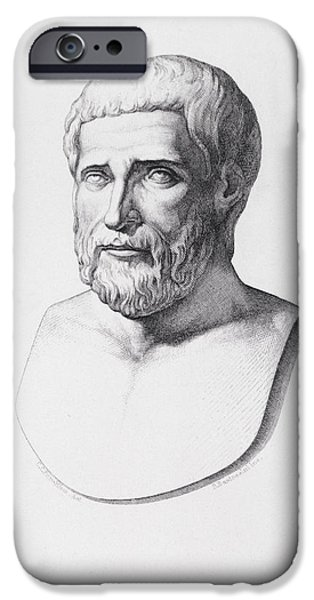 Portraiture Drawings iPhone Cases - Portrait of Pythagoras iPhone Case by CC Perkins