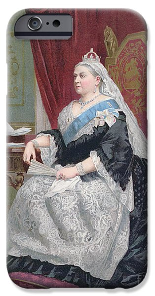 Female Drawings iPhone Cases - Portrait of Queen Victoria iPhone Case by English School