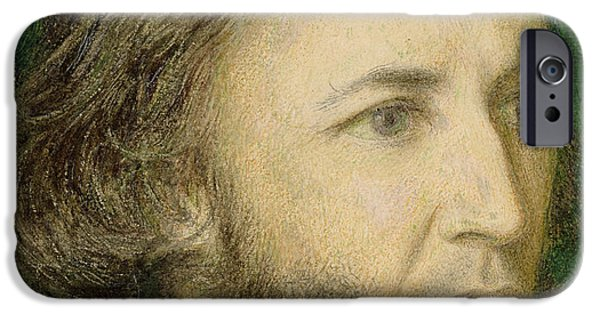 Drama Drawings iPhone Cases - Portrait of Robert Browning iPhone Case by Dante Charles Gabriel Rossetti