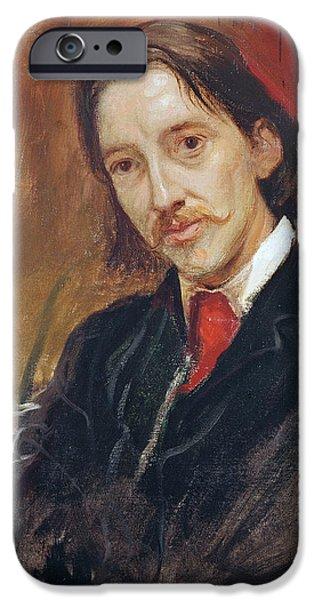 Mustaches iPhone Cases - Portrait of Robert Louis Stevenson iPhone Case by Sir William Blake Richomond