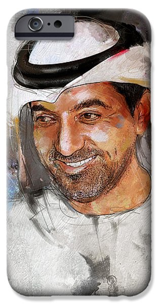 Chairmen iPhone Cases - Portrait of Sheikh Ahmed bin Saeed al Maktoum 2 iPhone Case by Maryam Mughal