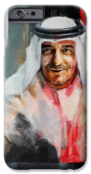Chairmen iPhone Cases - Portrait of Sheikh Ahmed bin Saeed al Maktoum 3 iPhone Case by Maryam Mughal