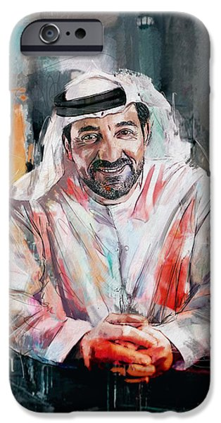 Chairmen iPhone Cases - Portrait of Sheikh Ahmed bin Saeed al Maktoum  iPhone Case by Maryam Mughal