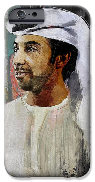 Chairmen iPhone Cases - Portrait of Sheikh Mansour iPhone Case by Maryam Mughal