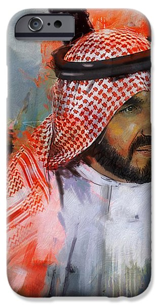 Chairmen iPhone Cases - Portrait of Sheikh Saqr bin Mohammad al Qasimi iPhone Case by Maryam Mughal