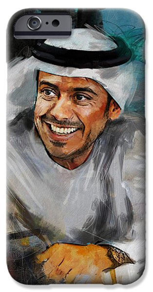 Chairmen iPhone Cases - Portrait of Sheikh Sultan bin Tahnoon Al Nahyan iPhone Case by Maryam Mughal