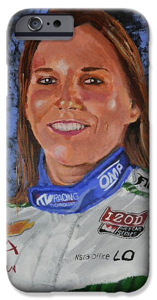 Indy Car iPhone Cases - Portrait of Simona iPhone Case by P D Morris