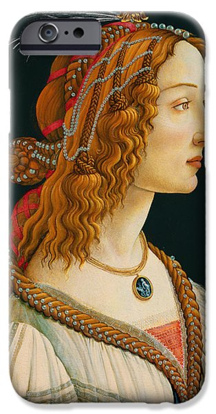 Vivid Drawings iPhone Cases - Portrait of Simonetta Vespucci  iPhone Case by Botticelli