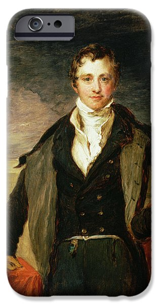 Young Man Photographs iPhone Cases - Portrait Of Sir Humphry Davy 1778-1829 Oil iPhone Case by John Linnell