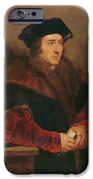 Chain-ring iPhone Cases - Portrait Of Sir Thomas More Oil On Canvas iPhone Case by Peter Paul Rubens