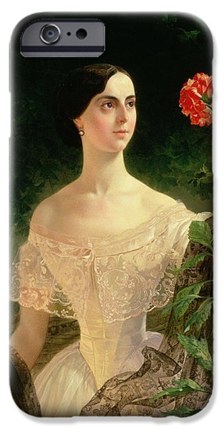 Dog In Landscape iPhone Cases - Portrait of Sofia Andreyevna Shuvalova iPhone Case by Karl Pavlovich Bryullov