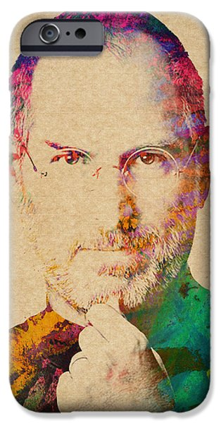 Computer Mixed Media iPhone Cases - Portrait of Steve Jobs iPhone Case by Aged Pixel